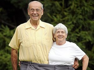 Joel Marsh and his wife, Dorothy, pose for a photo in Randolph, Maine.