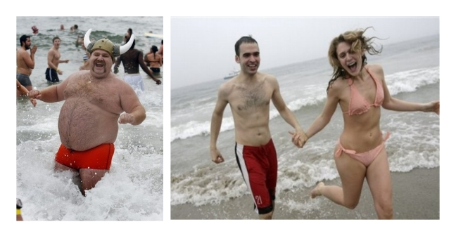 A quick dip into the frigid water, and he lost 80 lbs and found the girl of his dreams