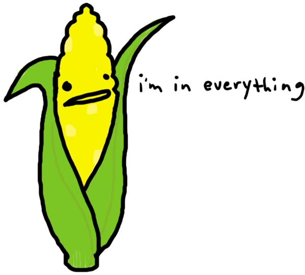 "Drawing of a corn stalk with the words written next to it: ""I'm in Everything."""