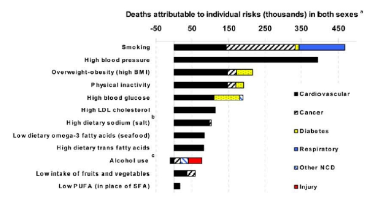 factors that contribute to the deaths Poor diet, high systolic blood pressure, and smoking are top risk factors for  deaths around the world undernutrition remains leading risk factor for children  under.