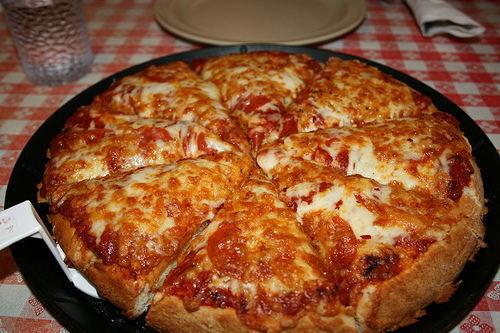 "Chicago style ""deep dish"" pizza"