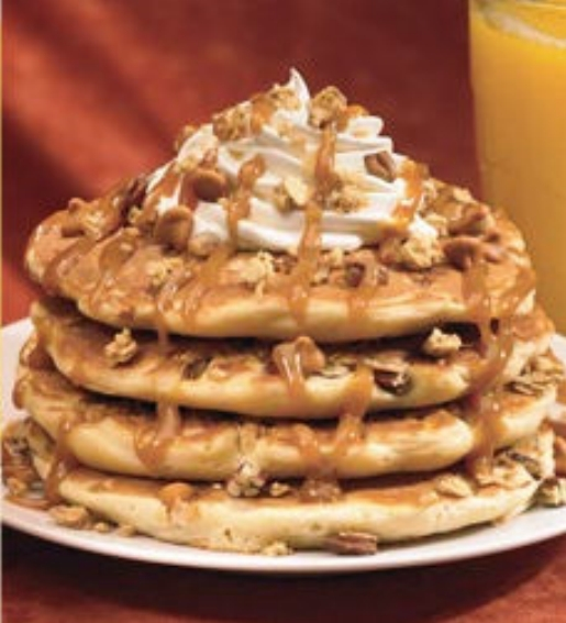 IHOPs Butterscotch Rocks Pancake....mmmmmm distended brachial arteries