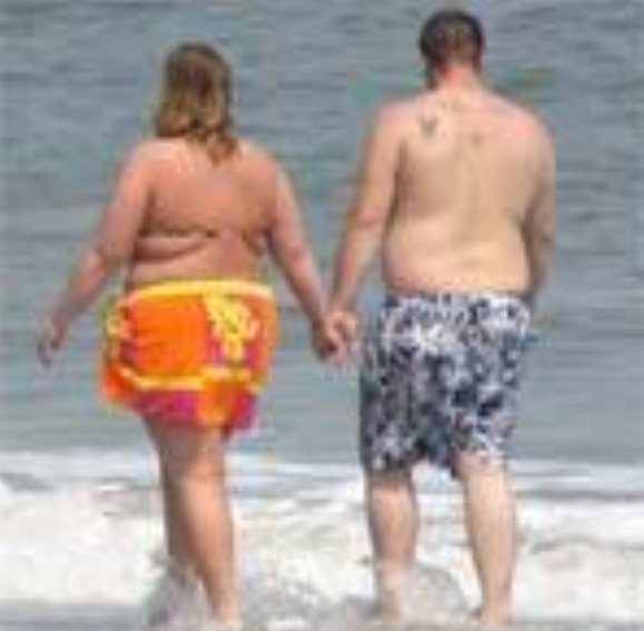 fat couple on the beach