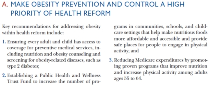obesity recommendations - trust for americas health - obesity