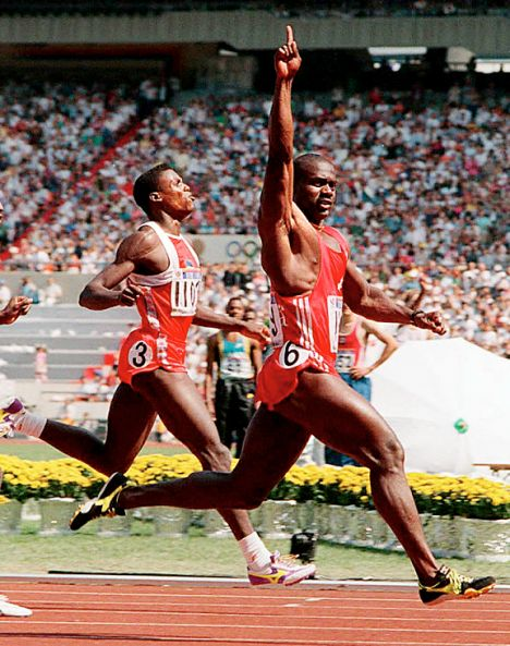 I like to visualize Ben Johnson crushing Carl Lewis when I do my HIIT sprints