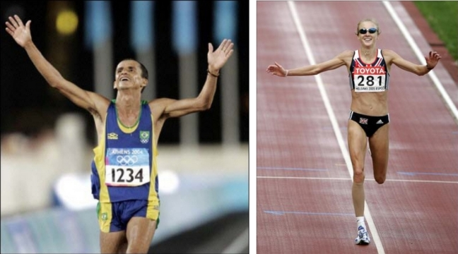 skinny man woman runner cardio