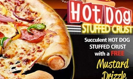 Pizza Hut Hot Dog stuffed crust pizza