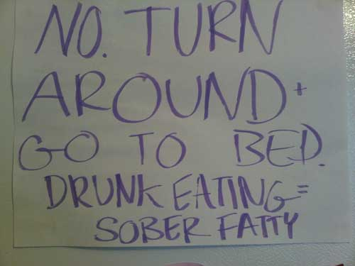 A college student's humorous attempt to curb late night drunk eating