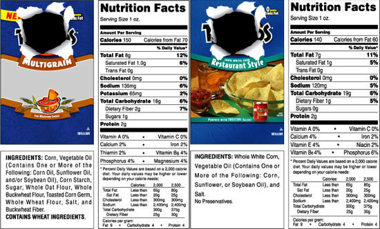nacho chips label nutrition